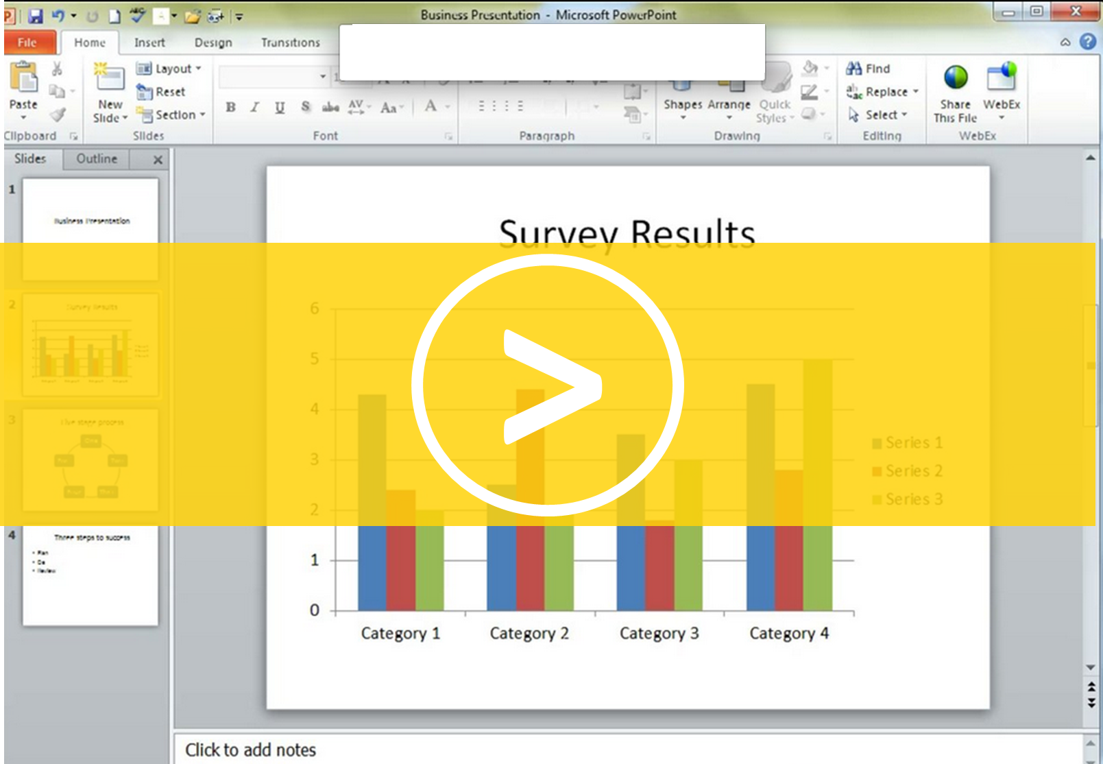 Animating charts in a PowerPoint presentation